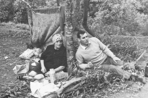 Grandmother Juana chatting with my uncle Jani on a family picnic in nearby mountains of Caracas, Venezuela. Circa 1968